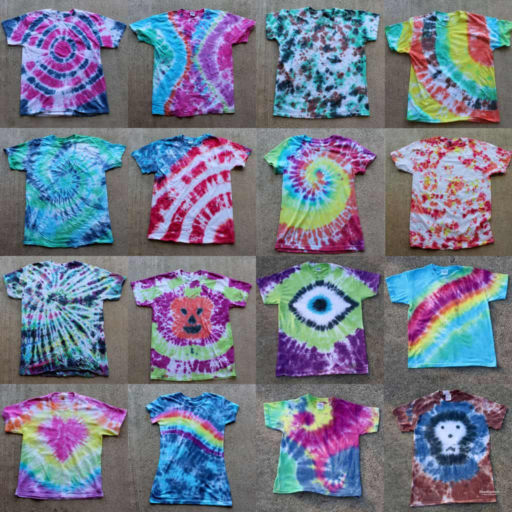 A guide to different tie dye shapes and patterns
