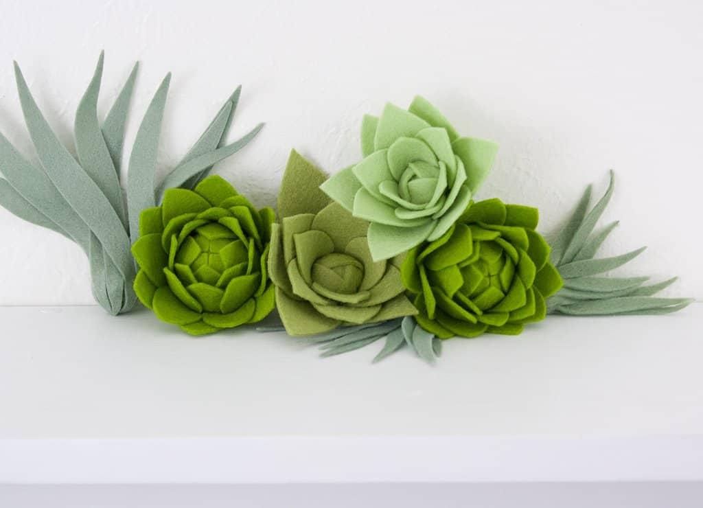Artichoke style felt succulents