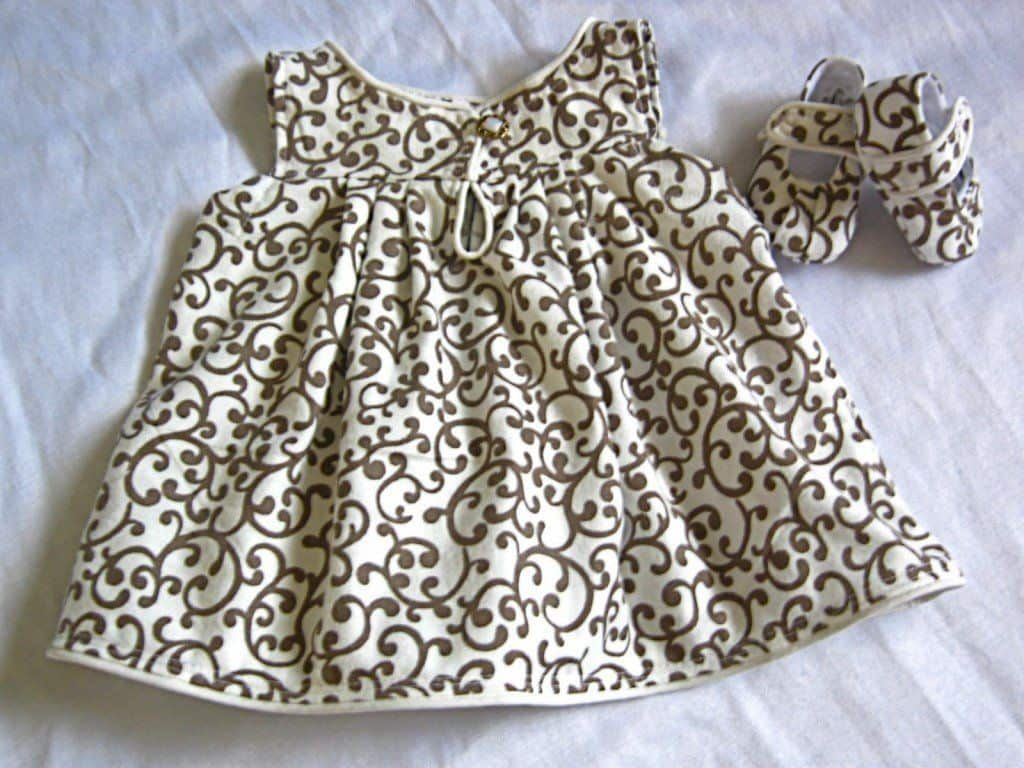 Baby dress with matching fabric shoes