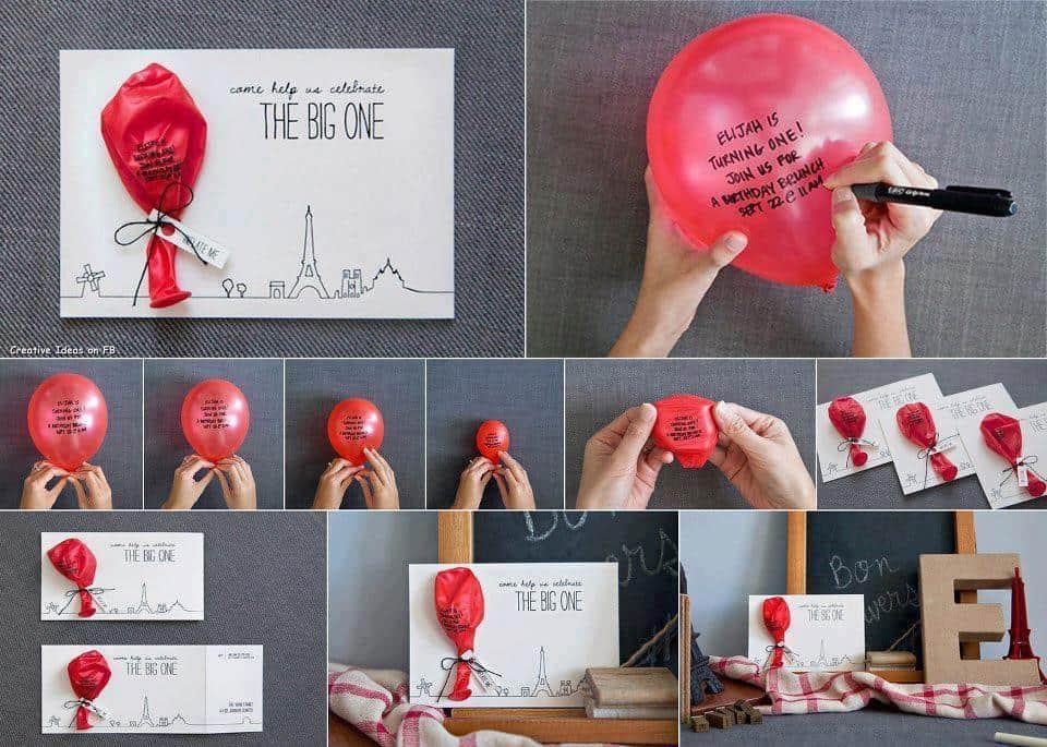 Balloon Message Invitation Cards