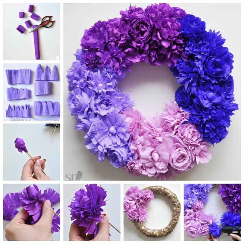 Beautiful ombre tissue paper wreath