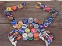 Beer bottle cap crab art 200x150 Unbottled Creativity: Cool Crafts Made with Bottle Caps