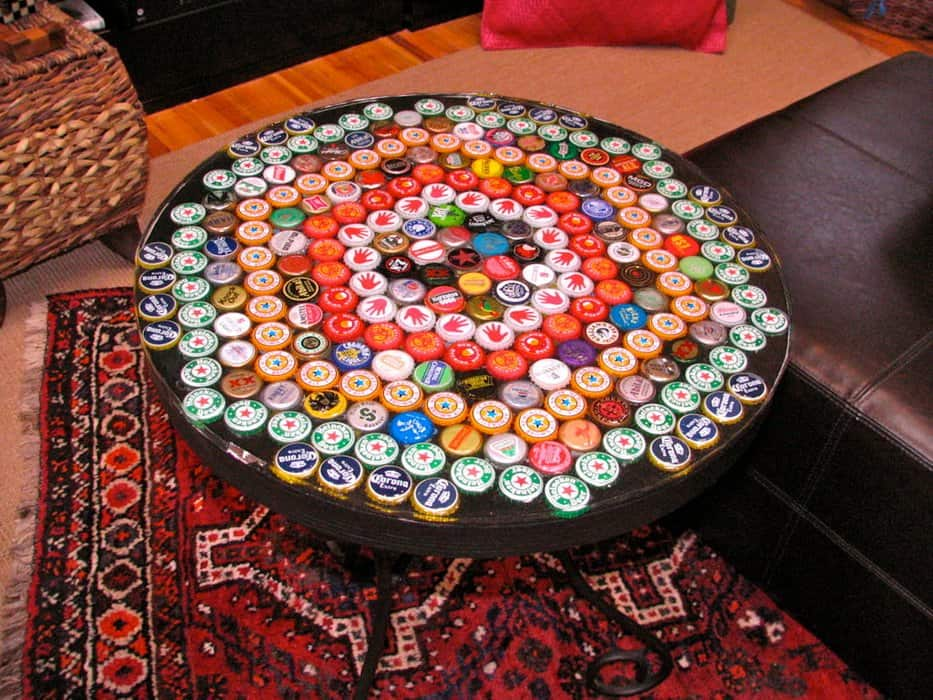 Bottle cap coffee table with resin surface