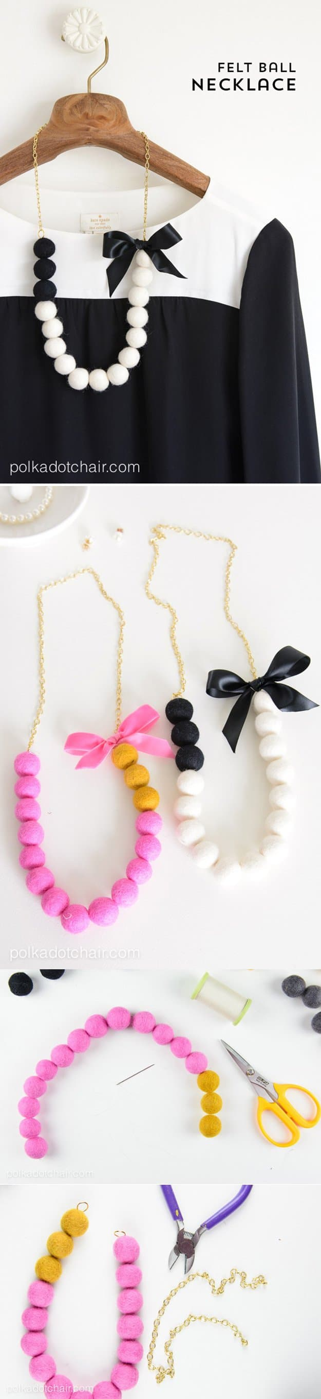 Chain, ribbon, and felt ball necklace