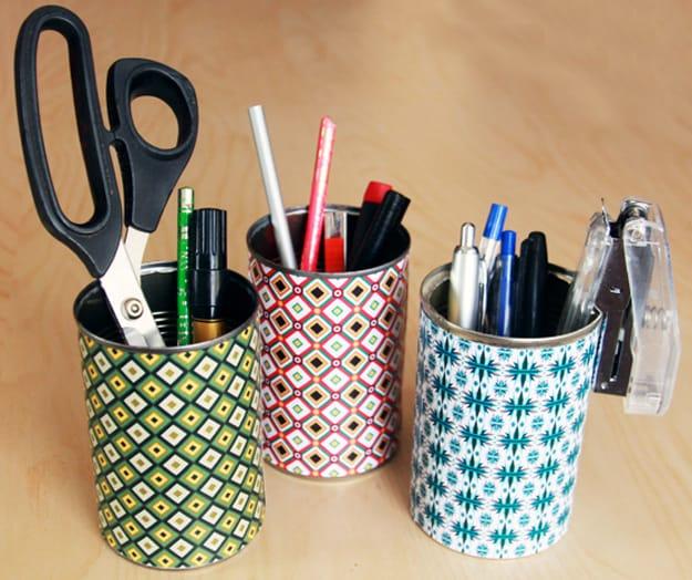 Colourful tin can oragnizers