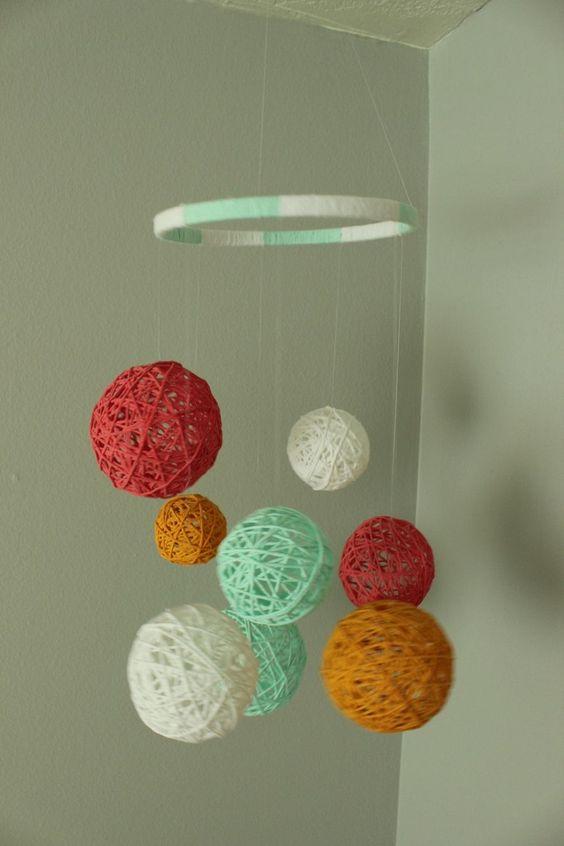 Colourful yarn balls