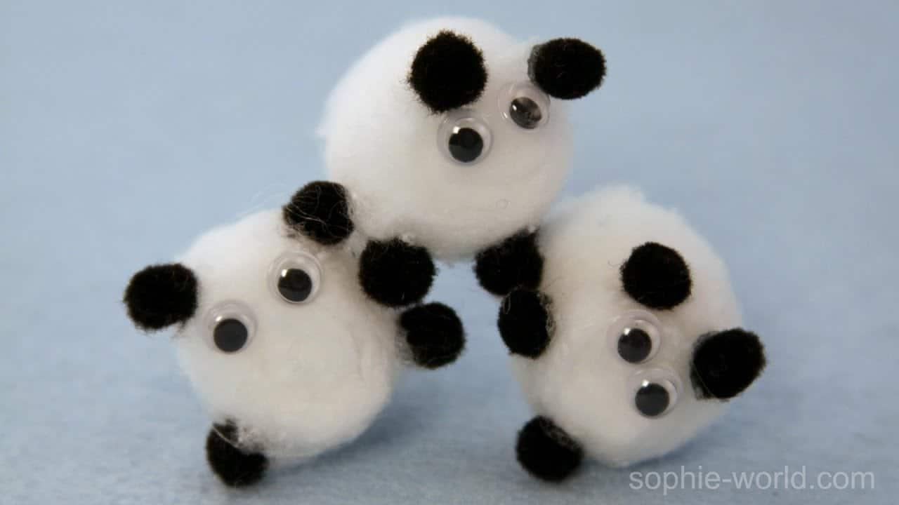 Cotton ball and googly eye sheep