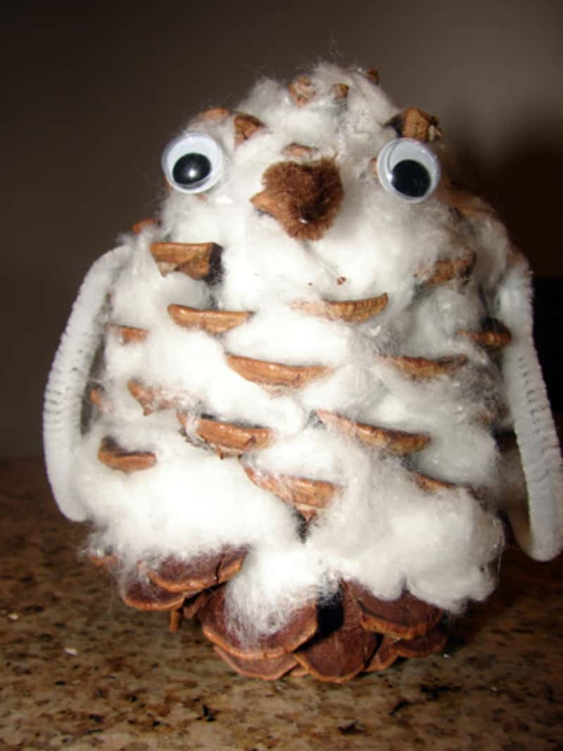 Cotton ball and pine cone owls
