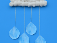 Cotton ball rain clouds 200x150 14 Delightful and Super Fun Crafts Made With Cotton Balls