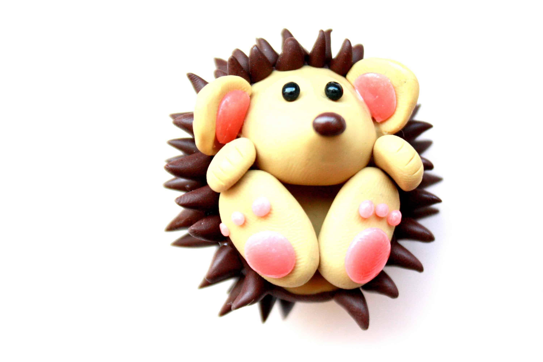 Cute polymer clay hedgehog