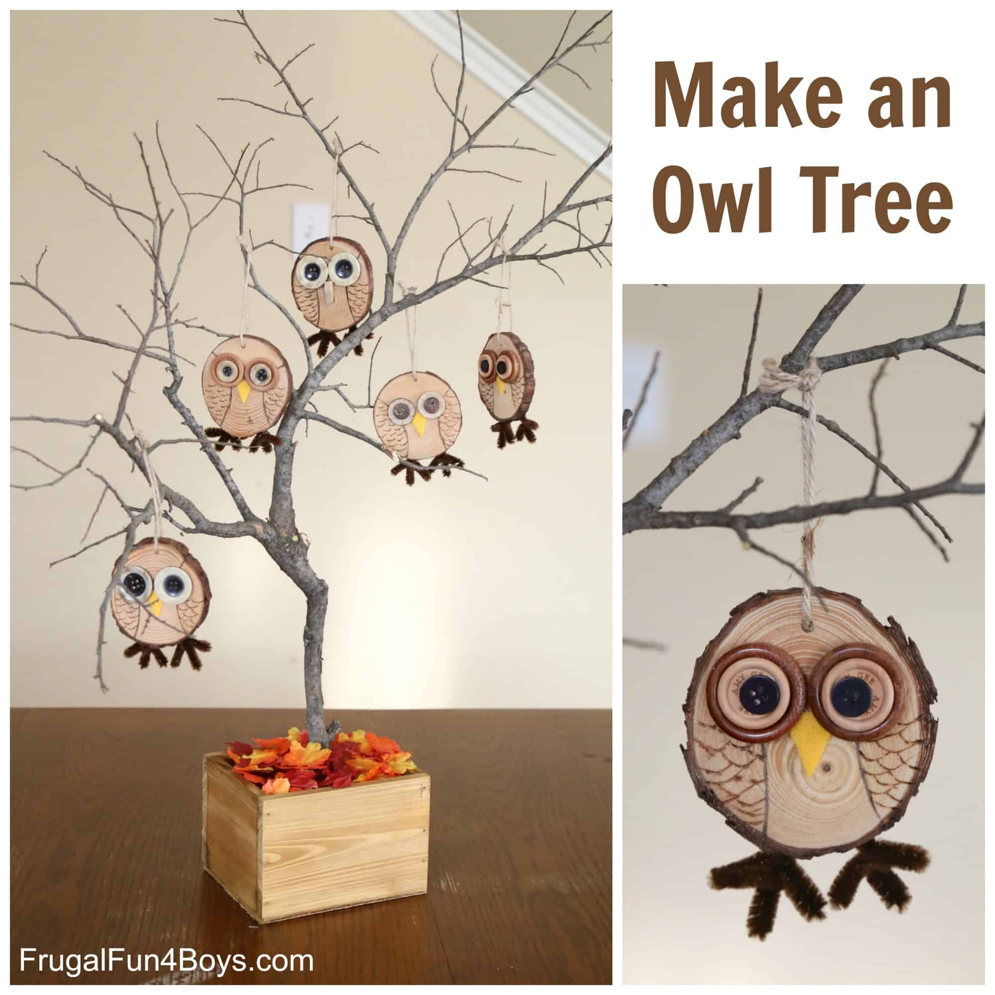 Cute wooden owl tree