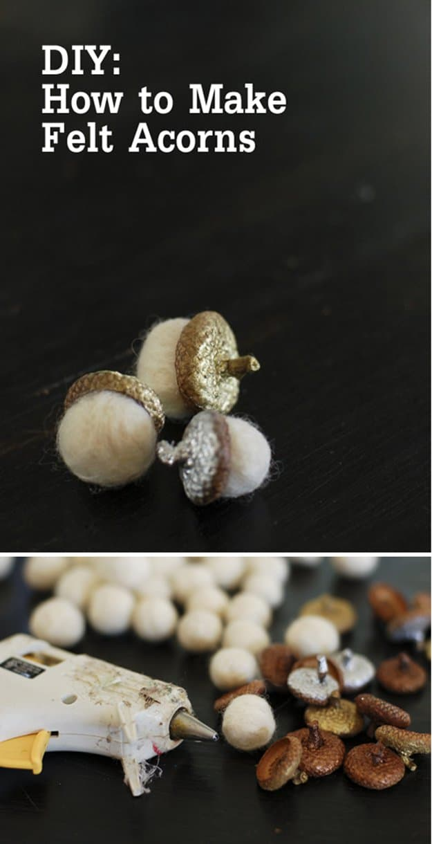 DIY felt ball acorns