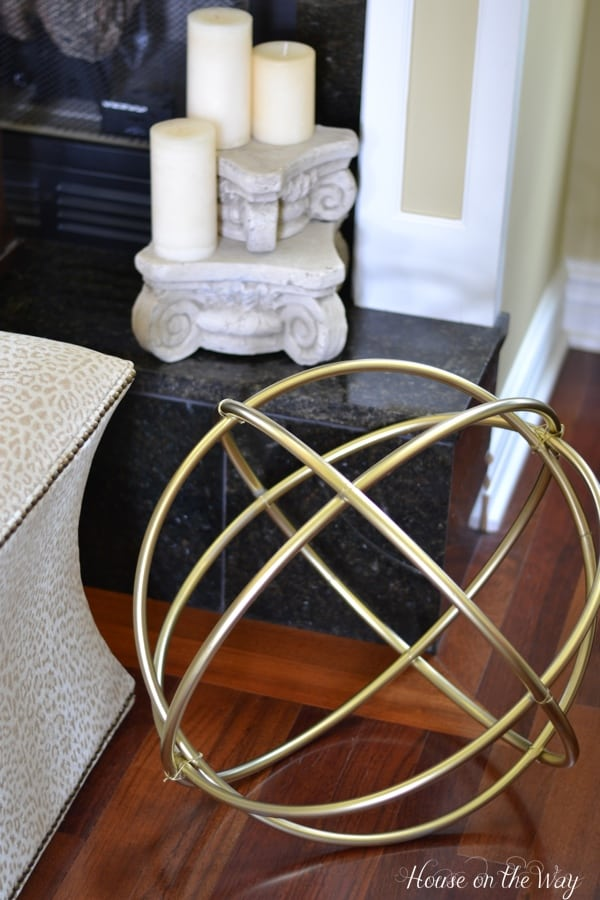 DIY gold decorative spheres made from hula hoops
