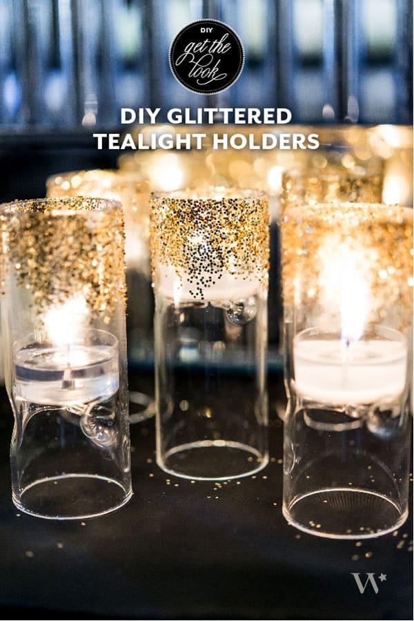 DIY gold glitter tea light holders