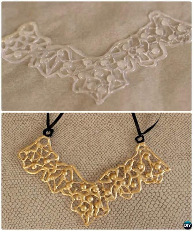 DIY gold hot glue necklace