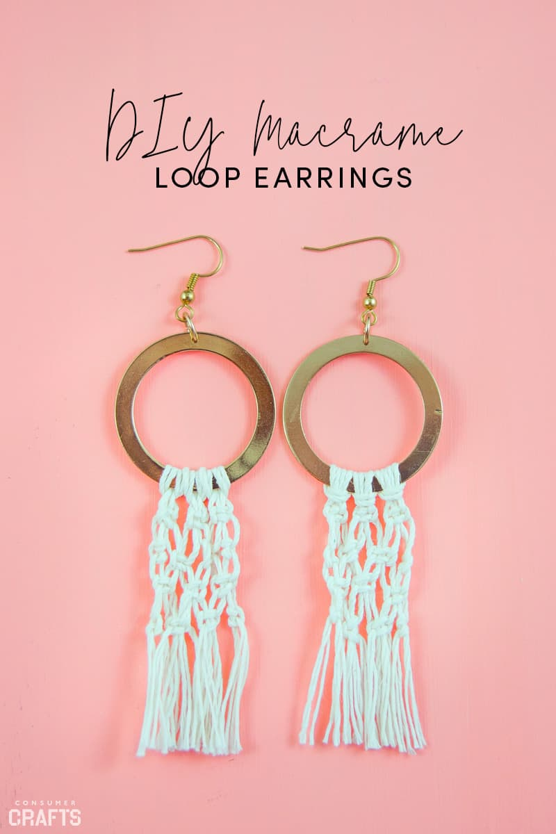 DIY macrame loop earrings