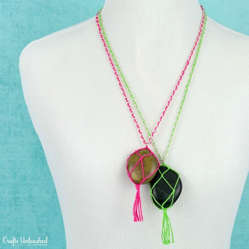 DIY macrame stone necklace