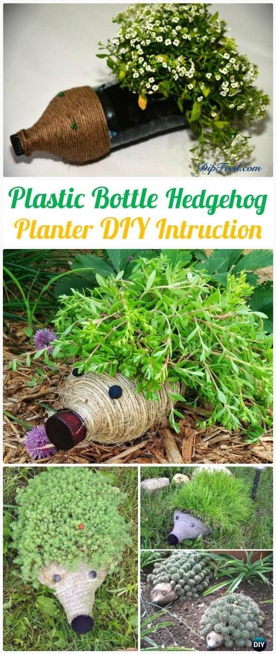 DIY plastic bottle hedgehog planter