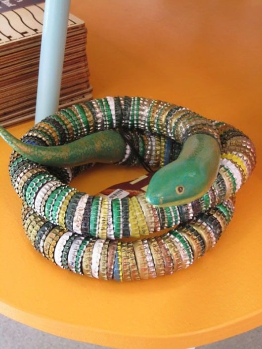 Decorative bottle cap snake