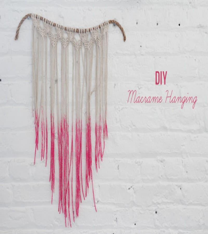 Dip dyed string and rope macrame hanging