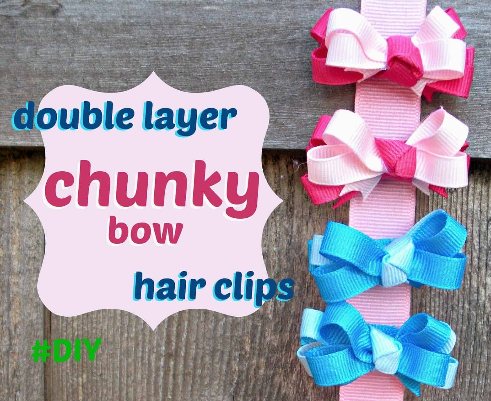 Double layer miniature chunky bow clips