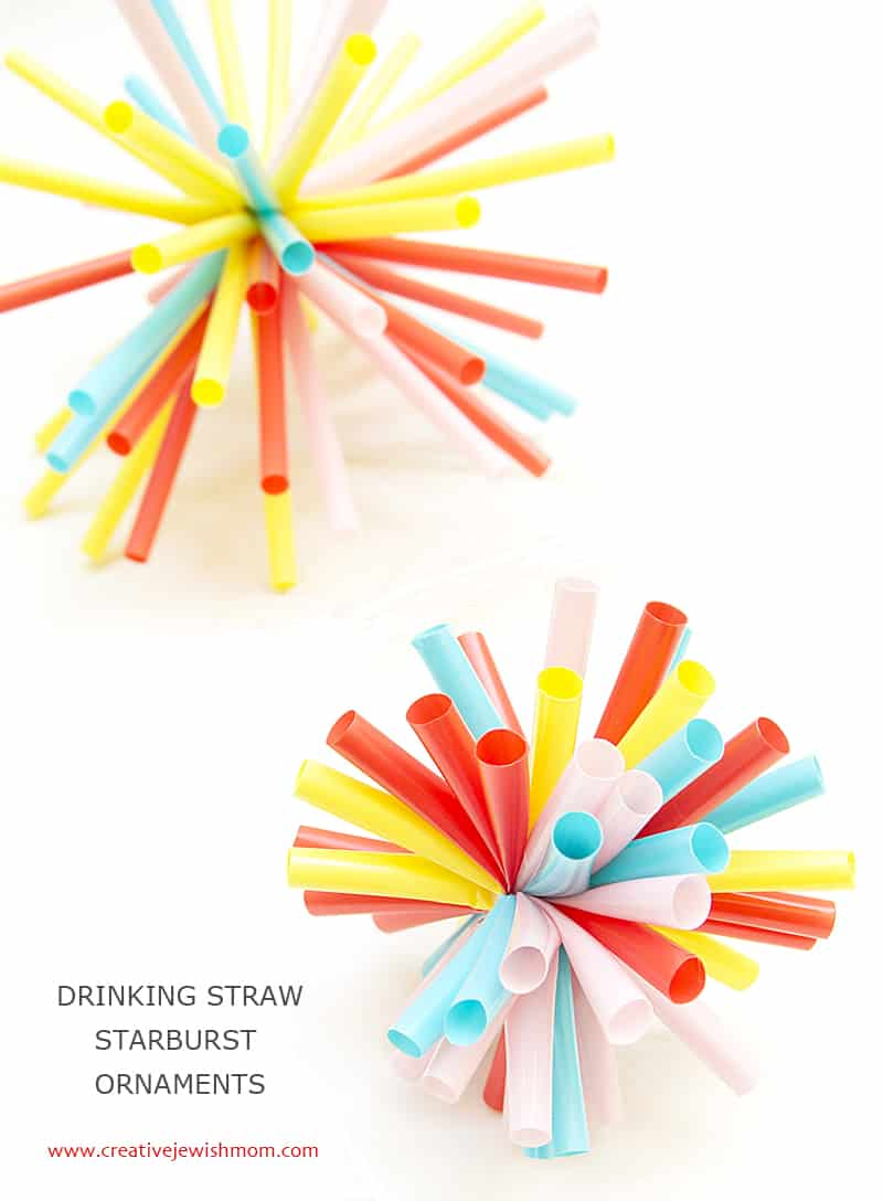 Drinking straw starburst ornaments