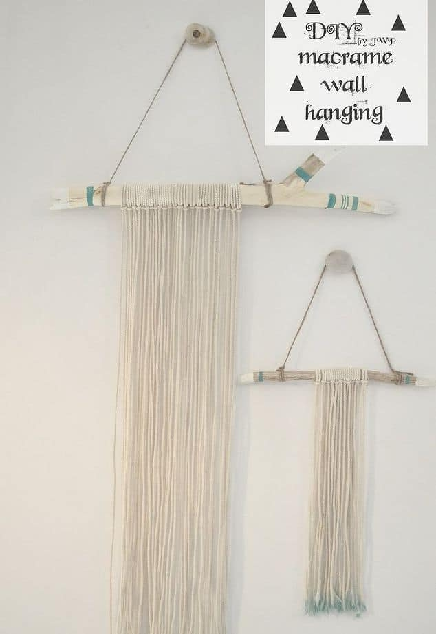 Easy branch and macrame wall hanging