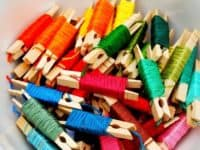 Embroidery floss clothes pins 200x150 14 Creative Craft Storage Ideas to Make Your Life Easier!