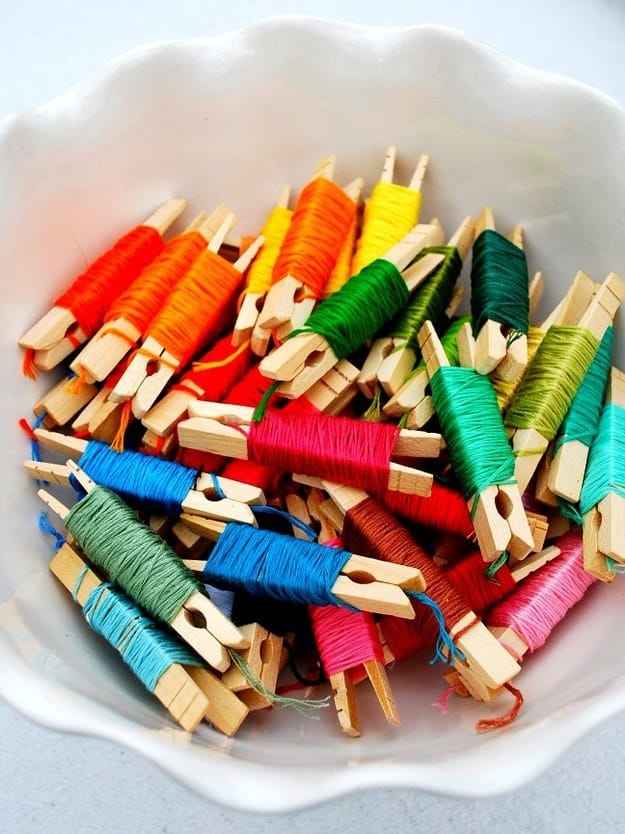 Embroidery floss clothes pins