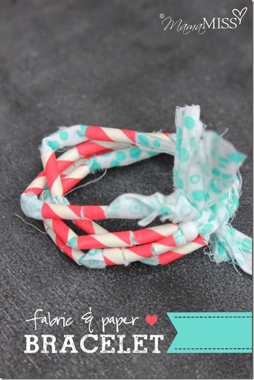 Fabric and paper straw bracelet