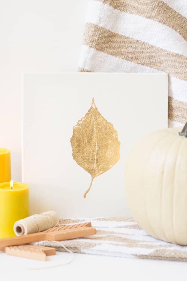 Fall gold leaf art
