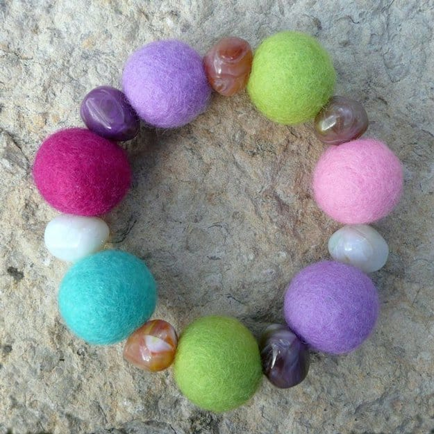 Felt ball and marbled stone bracelet
