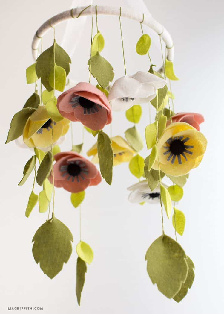Felt flower and hanging leaf mobile