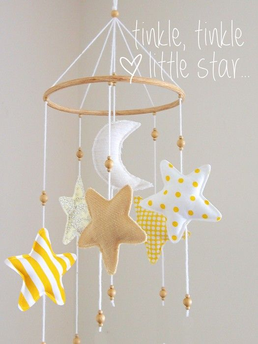 Felt moons and stars with wooden beads