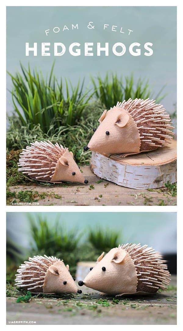 Foam and felt hedgehogs