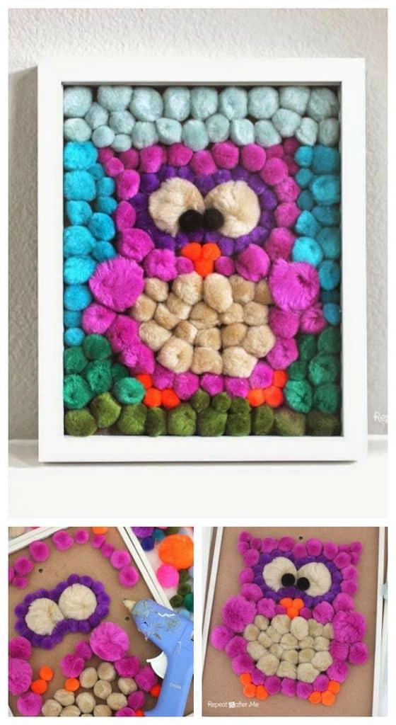 Framed owl pom pom craft