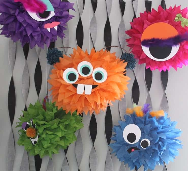Funny tissue paper monsters