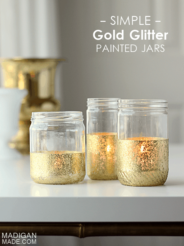 Gold glitter painted jars