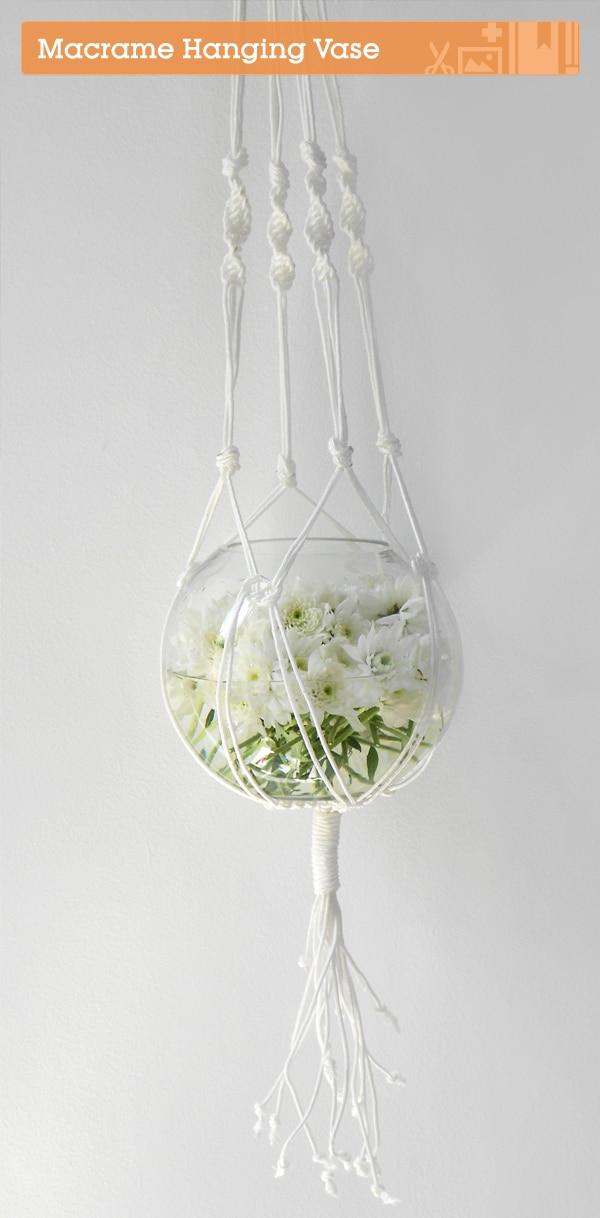Hanging macrame water vase