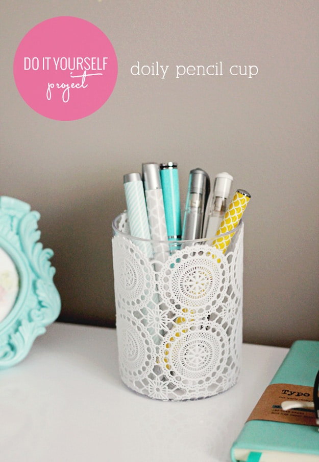 Lace doily decoupage pencil cup