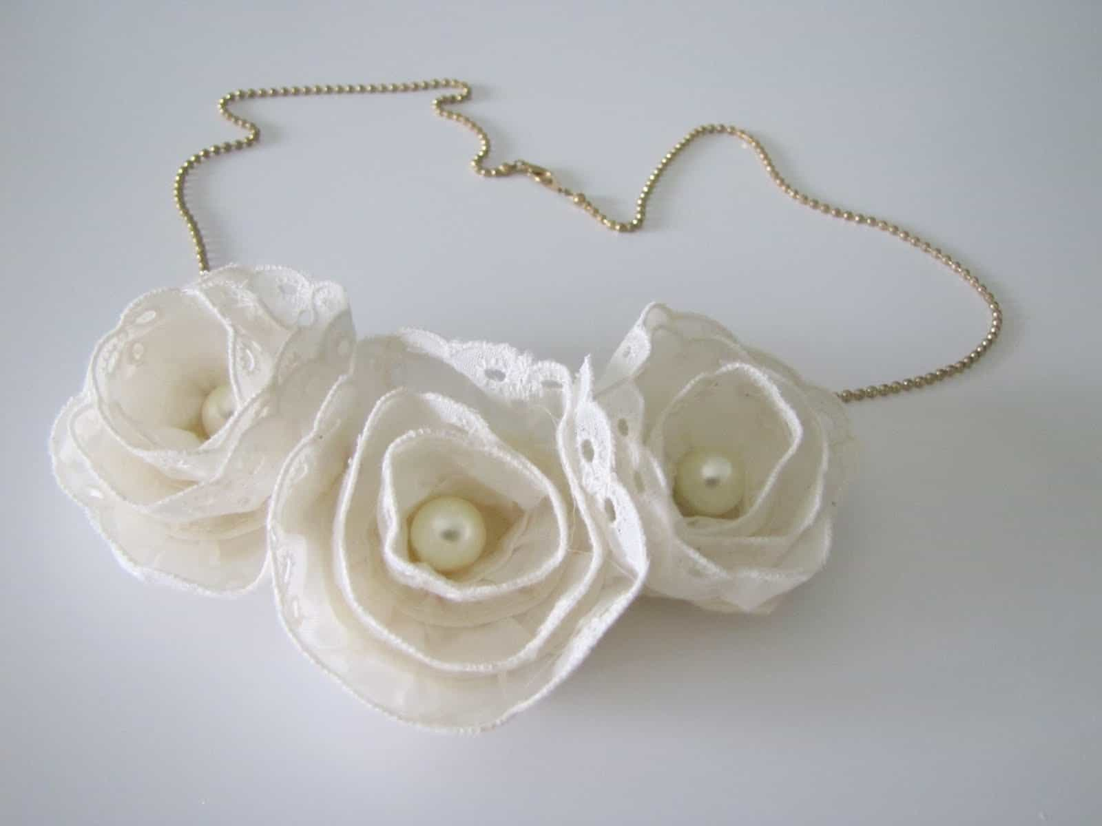 Lace flower and pearl Anthropologie recreation