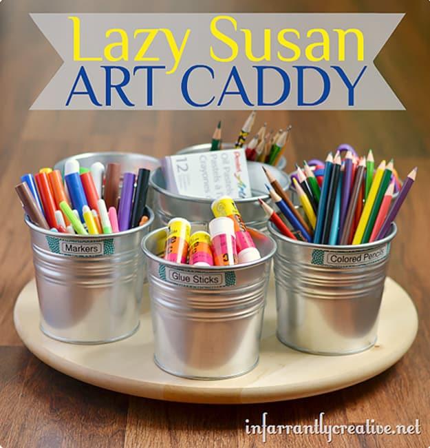 Lazy Susan art caddy