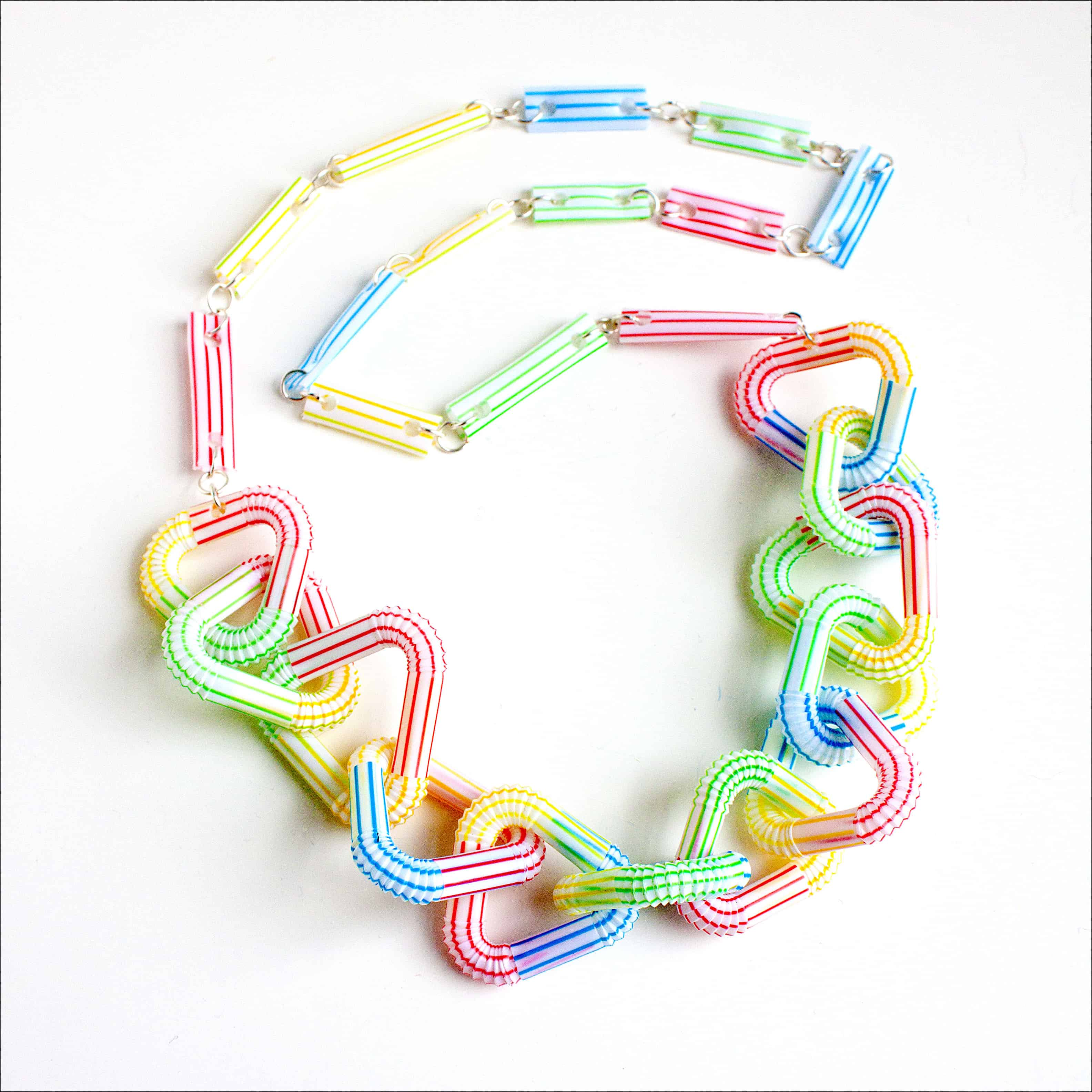 Linked drinking straw necklace
