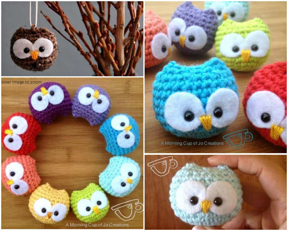 Little round crocheted owls