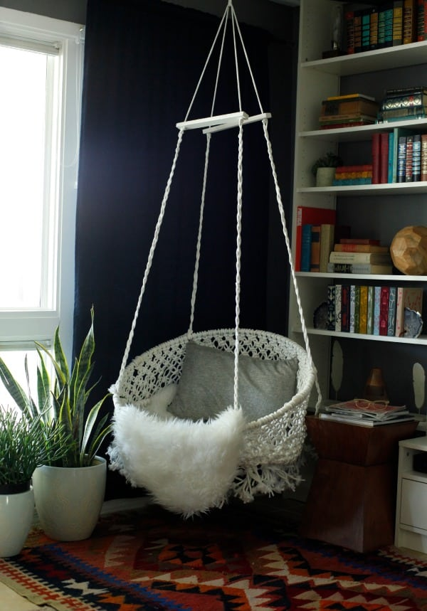 Macrame hanging hoop chair
