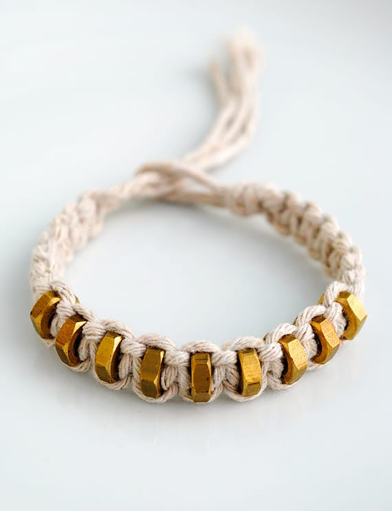 Macrame square knot and hexnut bracelet