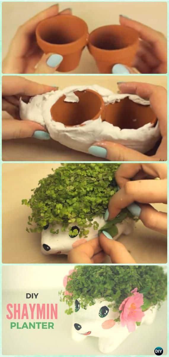 Miniature terra cotta pot hedgehog planter