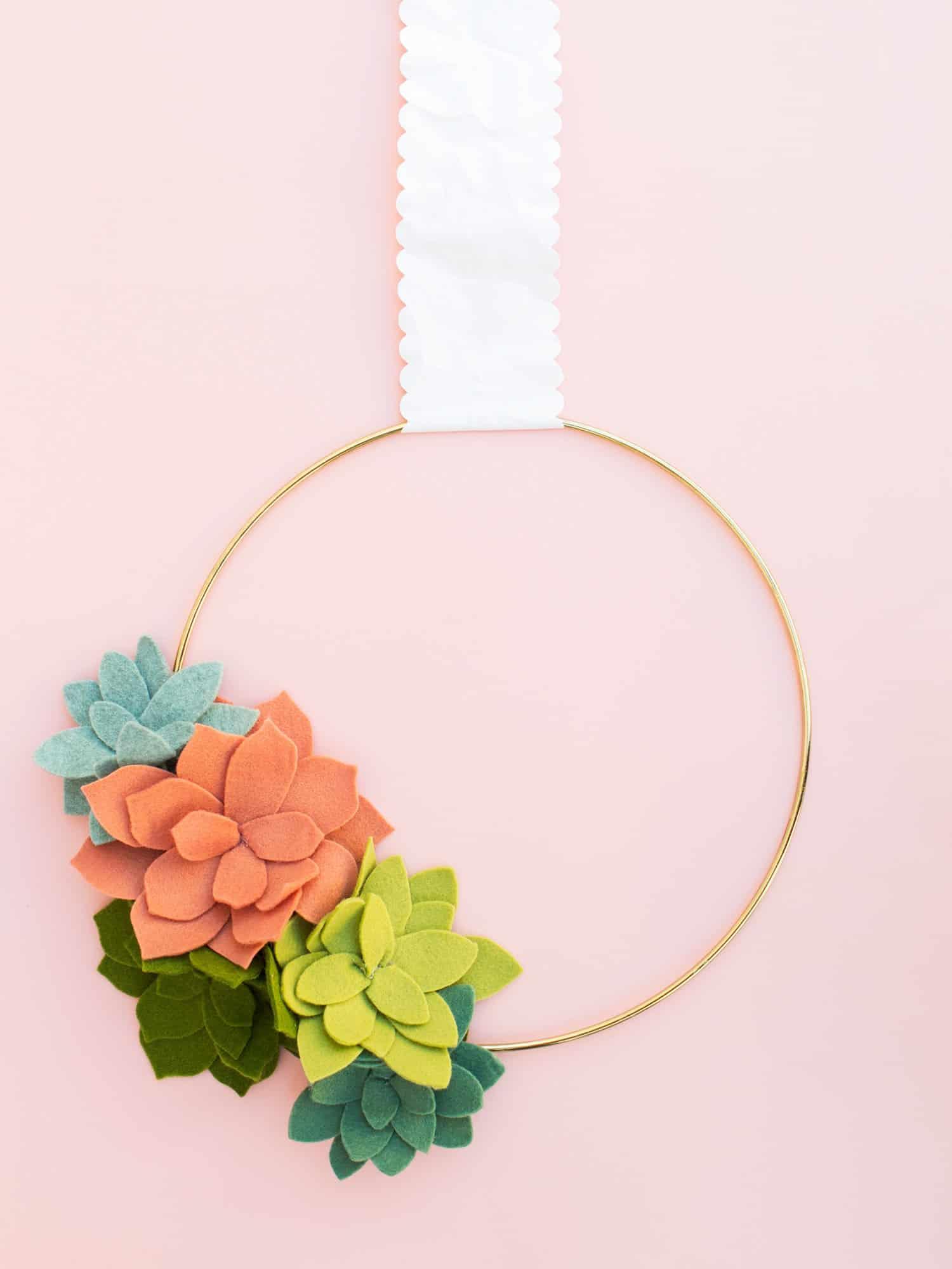 Modern felt succulent hoop wreath