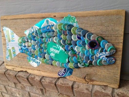 Mounted bottle cap catfish craft