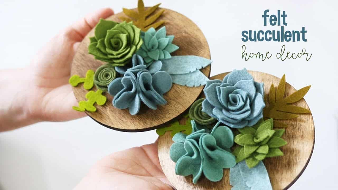 Mounted felt succulent decor pieces